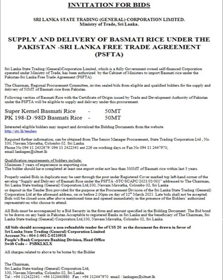 Invitation for Bids – Supply and Delivery of Basmati Rice from Pakistan under FTA