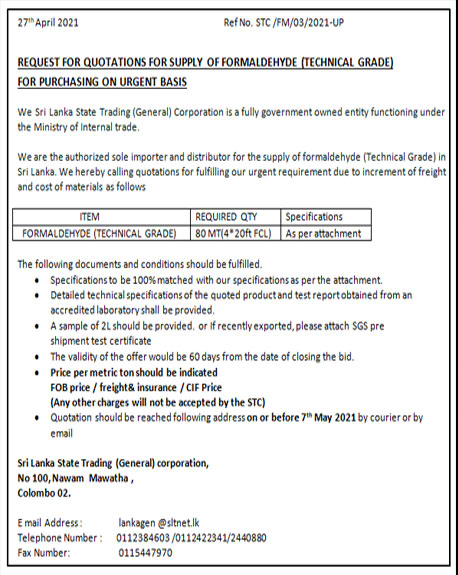 Request for Quotations – Supply of Formaldehyde ( Technical Grade ) STC/FM/03/2021-UP
