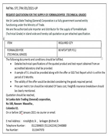07/01/2021 – Invitation for Bids – Formaldehyde Technical Grade